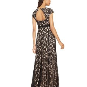 NWOT Black Lace Evening Gown w/Cap Sleeves